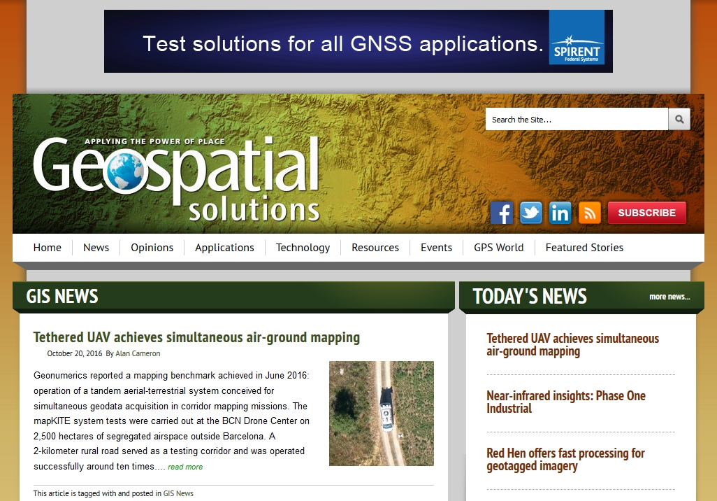 mapKITE in the Geospatial Solutions October issue